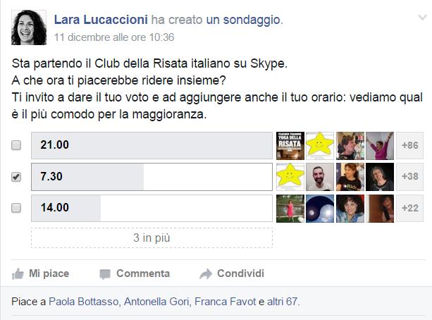 Sondaggio Club Risata su skype